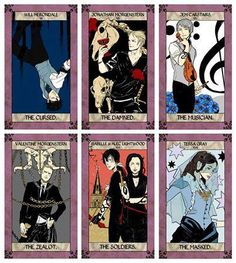 Tarot cards from Cassandra Jean colored in ...  james 'jem' carstairs, william 'will' herondale, tarot card, the infernal devices, theresa 'tessa' gray, the mortal instruments, jonathan morgenstern, valentine morgenstern, alexander 'alec' lightwood, isabelle lightwood
