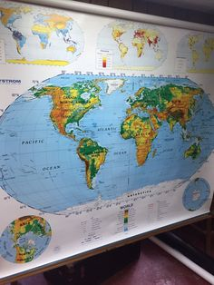 New pull down map or hanging map world map on canvas 1908 44w x nystrom 2 layer vintage world us pull down classroom school 1990 wall map 1sr99 gumiabroncs Images