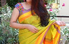 Light Green and orange border pure silk saree