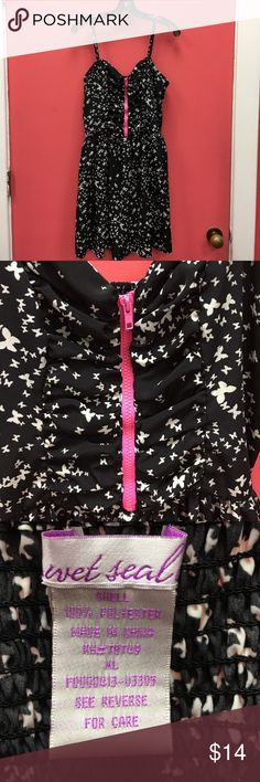 """Wet Seal Butterfly Dress Butterfly motif dress with hot pink exposed zipper. Waist measures approximately 17.5"""". Adjustable straps. All sales from this closet benefit a women's resource center in Florida. Wet Seal Dresses Midi"""