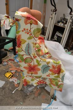 DIY wingback dining chair - how to upholster the frame - 79