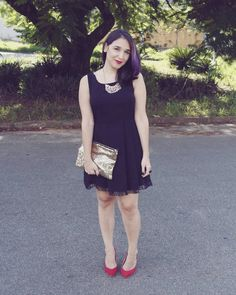 Little black dress + red shoes @heyjuume