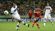 FORTALEZA, BRAZIL - JUNE 27: Juan Mata of Spain shoots past Giorgio Chiellini of Italy during the FIFA Confederations Cup Brazil 2013 Semi Final match between Spain and Italy at Castelao on June 27, 2013 in Fortaleza, Brazil. (Photo by Jasper Juinen/Getty Images)