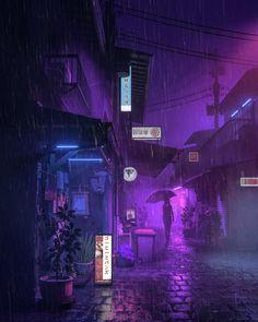 Purple Rain by Mike Winkelmann (beeple) Violet Aesthetic, Dark Purple Aesthetic, Aesthetic Colors, Aesthetic Pictures, Aesthetic Black, Aesthetic Vintage, Aesthetic Art, Aesthetic Anime, Japanese Aesthetic