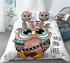 Cartoon Tribal Owl Bedding Set
