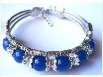 Beautiful Tibetan Silver Blue Jade Bracelet Great Gift Idea
