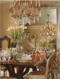 Dining room of Emeril & Alden Lagasse's home, designed by Tara Shaw and featured in Veranda