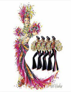 Carmen Miranda by Bob Mackie Bob Mackie, Carmen Miranda, Cher Costume, Showgirl Costume, Baile Latino, Fashion Sketches, Fashion Illustrations, Fashion Sketchbook, Butterfly Dress