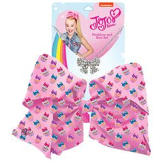 JoJo Siwa Signature Patterned Bow And Necklace Set -Pink Cupcakes Jojo Siwa Hair, Jojo Siwa Bows, Jojo Bows, Jojo Juice, Claires Bows, Jojo Siwa Outfits, Kids Toy Shop, Jojo Siwa Birthday, Unicorn Outfit