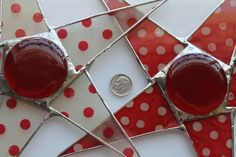 Red and White Polka Dots- lacquered Lokta paper on glass with red stained glass cabochon center 9 inches  Um, hello!  Polka dots!
