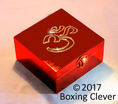 Ohm Symbol Jewellery Box - Wooden Engraved Gold Glitter & Red Gloss Finish -4.7x4.7x2.3 Inches-  Keepsake/Trinket/Jewelry FREE DELIVERY UK