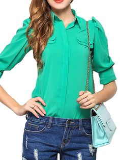Graceful Oversize Long Sleeve Solid Color Slim Puff Sleeve Blouse Two Colors on buytrends.com