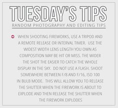 We are sharing a great tip on how to capture those amazing fireworks!