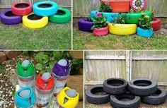 DIY Möbel lila rot blau grün farben Autoreifen autoreifen recycling gestapelt