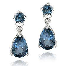 925 Silver 3.6ct London Blue Topaz & Diamond Accent Teardrop Earrings
