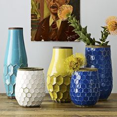 West Elm hives vases. Would look cool on freestanding wall shelves