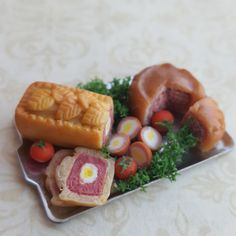 Dollhouse picnic food, pork pie, gala pie andscotch eggs, summer picnic food, cooked deli pies, miniature food in one inch scale by ChapelViewMiniatures on Etsy