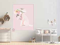 Boho Chihuahua Dog Baby Girl Nursery Wall Art Print Ethereal Whimsical Floral Printable Decor Nursery Decor Boy, Nursery Wall Art, Girl Nursery, Girl Room, Baby Room, Room Decor, Pink Forest, Bedroom Artwork, Dog Baby