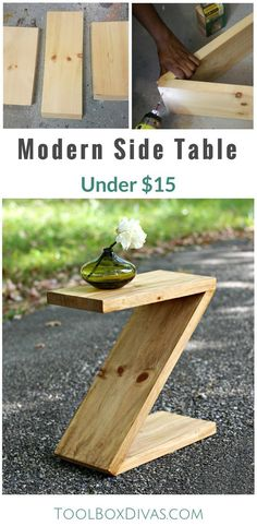 Learn how to build this simple modern side table that is shaped like a Z. Great beginner woodworking project. Simple and easy to make. How to plan for modern furniture. @ToolboxDivas #ToolboDivas #Freeplans #Modernfurniture #DIY #Woodworking #Sidetable
