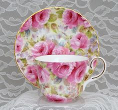 Lady Diana Chintz Bone China Tea Cup Teacup via Roses and Teacups, LL., You can enjoy break fast or various time times using tea cups. Tea cups also provide ornamental features. Whenever you consider the tea glass designs, you might find this clearly. China Cups And Saucers, Teapots And Cups, English Tea Cups, Bone China Tea Cups, My Cup Of Tea, Tea Service, Tea Cup Saucer, Drinking Tea, Tea Time