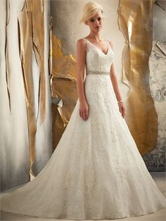 A-line V-neck with beaded belt Sweep Train Lace Wedding Dress WD1568 www.tidedresses.co.uk $199.0000