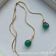 gold vermeil ear thread with green onix