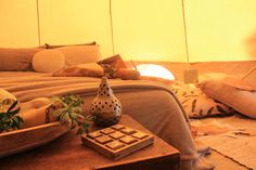 Natural colours to reflect your outdoor surrounding environment whilst spoiling our glamping guests with luxury bedding and premium furnishings. www.wildflowerbelltenthire.com.au Luxury Bedding, Glamping, Environment, Colours, Natural, Outdoor, Furniture, Home Decor, Outdoors