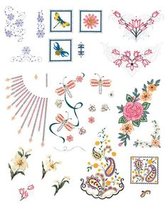 Brother Memory Floppy Disk No. 59 - Blouse Embellishments (ULT only).   Embroider any of your clothing with the blouse embellishment card. You can add beauty & color from a range of different flowers, pansies & fireflies. This card contains 28 stunning embellishments.