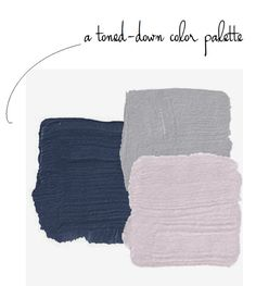 """A pretty paint color palette for a """"Frozen"""" room--if you must have one. Navy + lavender + gray"""