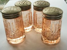Sharon Cabbage Rose Depression Glass Salt and Pepper Shakers - Pink