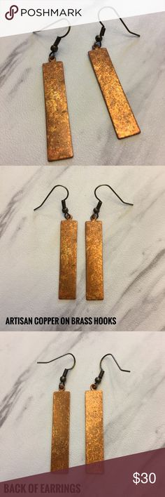 """NEW Rectangle Artisan Copper & Brass Earrings ❤️ Price FIRM unless bundled 📦 Same day shipping {during post office hours}  Rectangle artisan copper strung on 21mm brass fishhook ear wires. Artisan copper is solid copper which is nickel & lead-Free. The rich copper hue will add a pop of color to a monochromatic outfit or blend nicely with a vibrant ensemble. Simple yet elegant. Approximate length of copper charm: 1.5"""" (see photo for total length with ear wire). Each piece is hand crafted and…"""
