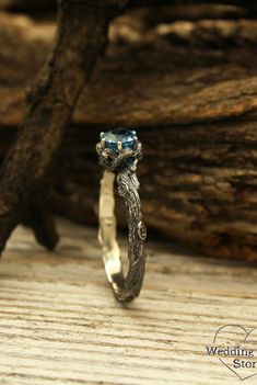Twig engagement ring with Topaz by WeddingRingsStore. Vintage style branch ring, Her nature inspired ring, Womans 14k white gold ring, Unique gift for girlfriend #weddingring #jewelry #goldjewelry #Diamondring
