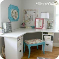 {Craft Room Corner Desk} DIY  #diy #howto #ideas