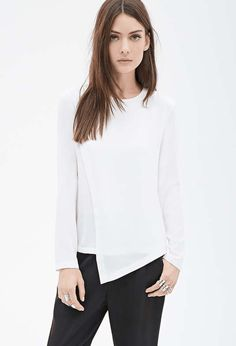 Forever 21   Layered Chiffon Blouse #forever21 #white #blouse