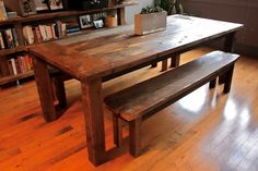 reclaimed wood dinning table on Etsy, $2,250.00