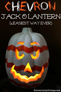 Chevron #Pumpkin Jack O'Lantern - learn the easiest way ever to create a chevron pattern!  eclecticallyvintage.com