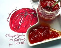 A simply super Tomato marmalade flavoured with kirsch. Easy, basic recipe and multi-tested to keep the full aroma and taste of the tomato. Food Styling, Greek Recipes, Good Food, Food And Drink, Cooking Recipes, Sweets, Vegetables, Desserts, Sweet Dreams