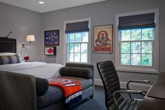 trendy bedroom with masculine touch