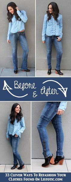 33 Clever Ways To Refashion Your Clothes -- Turn bootcut jeans into skinny jeans