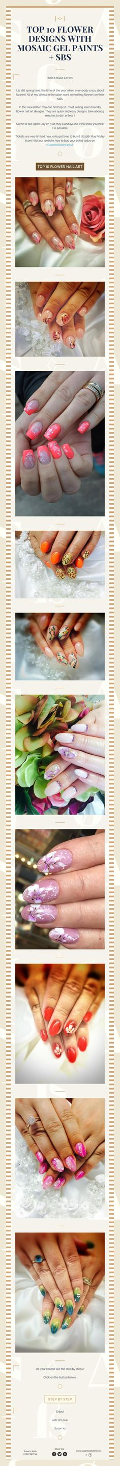 Top 10 flower designs with mosaic gel paints sbs Nail Technician, Nail Artist, Flower Designs, Nailart, Mosaic, Flowers, How To Make, Top, Painting