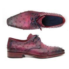 Paul Parkman Lilac Genuine Ostrich Derby Shoes (ID#66CC44)
