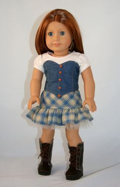 American Girl Doll Clothes - Skirt, Tee, and Bustier Vest - Civil Bro Ropa American Girl, American Girl Dress, American Doll Clothes, Ag Doll Clothes, Doll Clothes Patterns, Doll Patterns, Dress Patterns, Ag Clothing, Girl Dolls