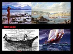 Disegno e dipinti dell'utilizzo delle canoe da parte dei Coast Salish. Benché la propulsione era principalmente fornita dalle pagaie, era conosciuto anche l'uso della vela. Questo era limitato a condizioni di vento favorevoli essendo le imbarcazioni prive di chiglia e timone. Quando gli abitanti si trasferivano dai villaggi invernali a quelli estivi, univano 2 canoe insieme utilizzando le tavole di copertura delle abitazioni, creando così degli embrionali catamarani.