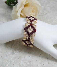 Woven Bracelet Red Swarovski Crystal by IndulgedGirl on Etsy
