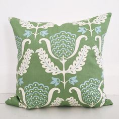 Jacobean tulip & Ivory linen cushion cover by VilladeLuxeBoutique