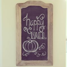 "Adorable ""happy FALL"" chalkboard art idea with a cute little pumpkin at the bottom. Great for autumn/fall/Thanksgiving. Fall Chalkboard Art, Chalkboard Doodles, Blackboard Art, Chalkboard Writing, Kitchen Chalkboard, Chalkboard Drawings, Chalkboard Lettering, Chalkboard Designs, Chalkboard Ideas"