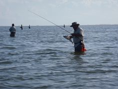 Lined up, wading, and stringing fish. Port Mansfield, TX. S & S Guide Service