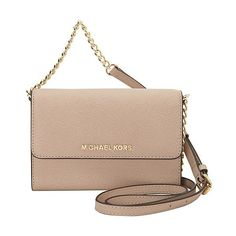 MICHAEL Michael Kors Jet Set Large Phone Crossbody ($158) ❤ liked on Polyvore featuring bags, handbags, shoulder bags, designer handbags, pink, shoulder handbags, crossbody purse, beige crossbody, cross body shoulder bags and accessories handbags