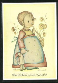 Künstler-AK Hummel: Mädchen in blauer Schürze mit Kasparle-Puppe in der Hand