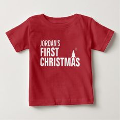 Baby's First Christmas Baby T-Shirt Red - black and white gifts unique special b&w style